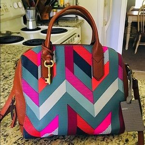 Fossil NWT Geometric Jayden Bowler Tote